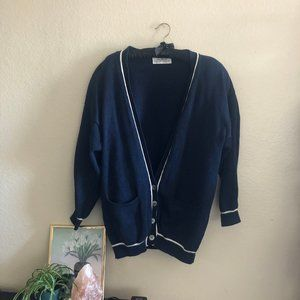 80s navy blue & white cardigan with shoulder pads